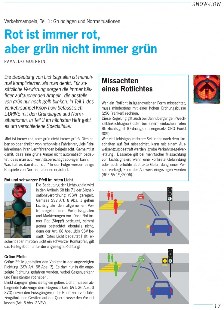 Ampel Verkehrskunde bei der Fahrschule Driving Point in Rapperswil